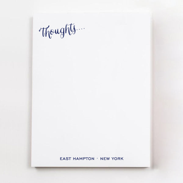 Thoughts.... personalized guest room note pages in navy ink