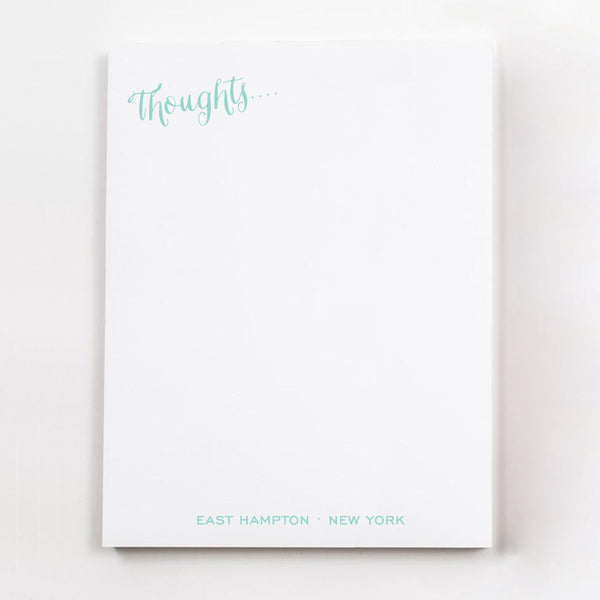 Thoughts.... personalized guest room note pages in pool blue ink