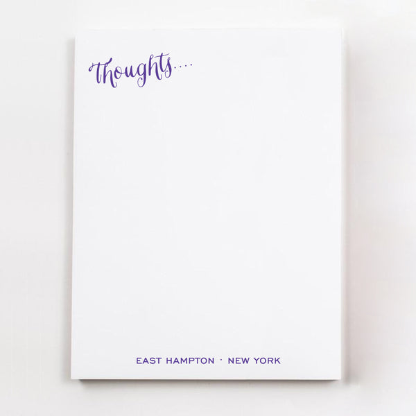Thoughts.... personalized guest room note pages in purple ink