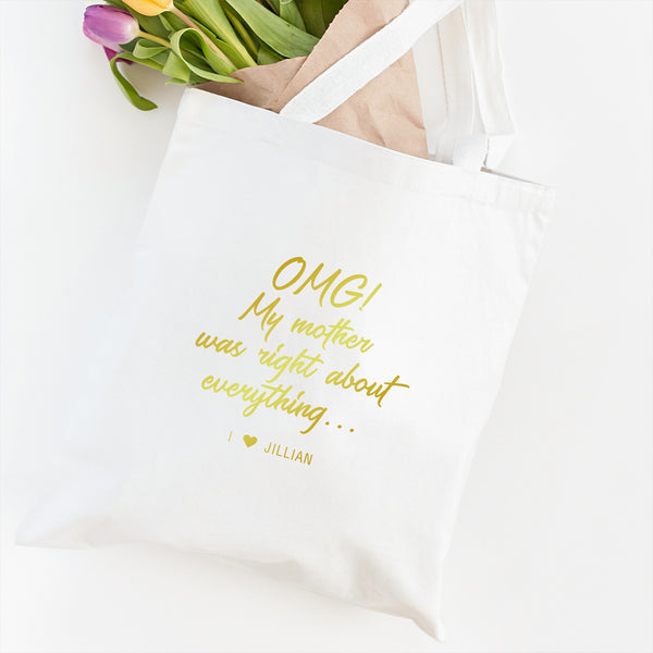 Mom will love this humorous and endearing tote.