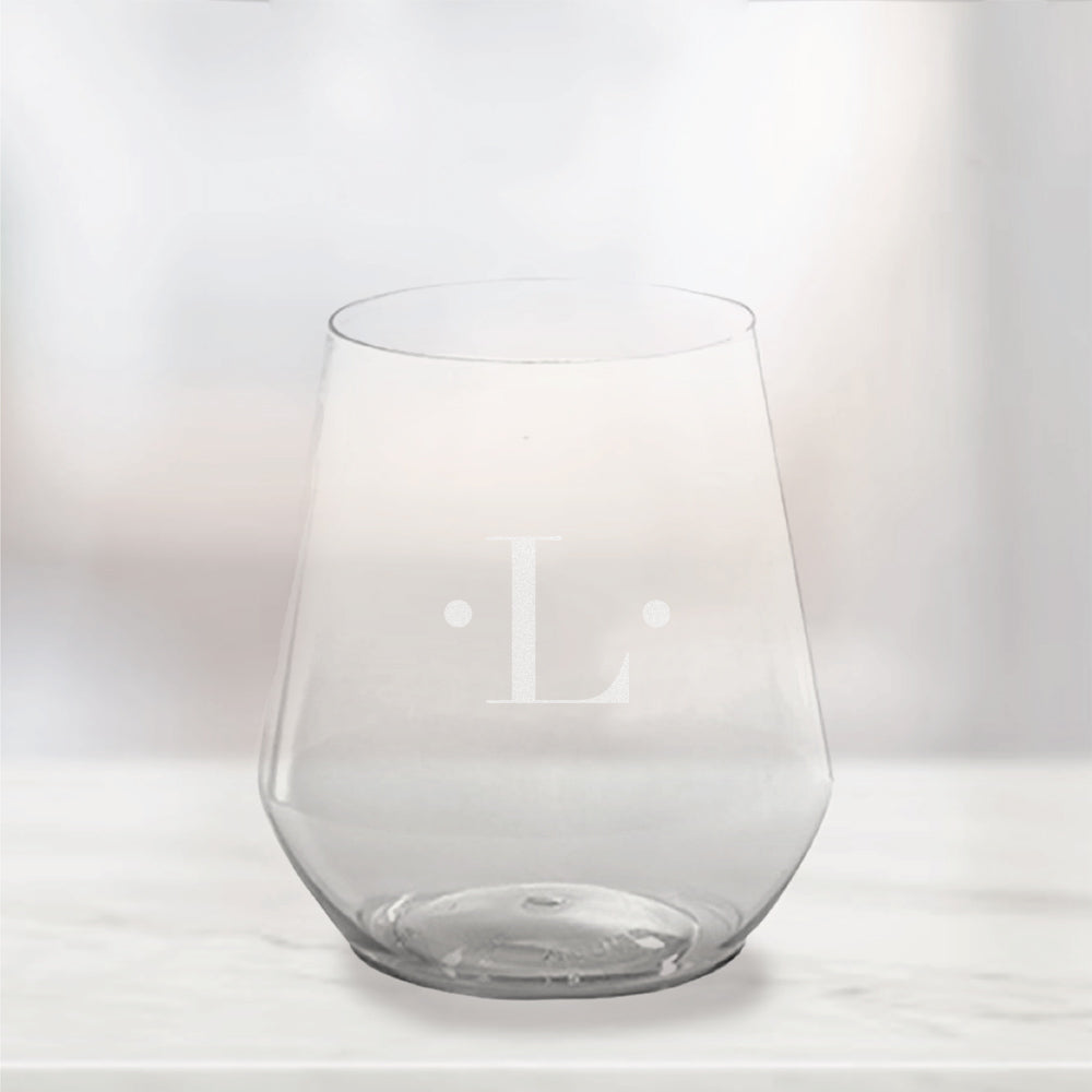 Etched Single Initial Plastic Stemless Wine Glasses