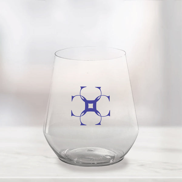 Monogram Plastic Stemless Wine Glasses