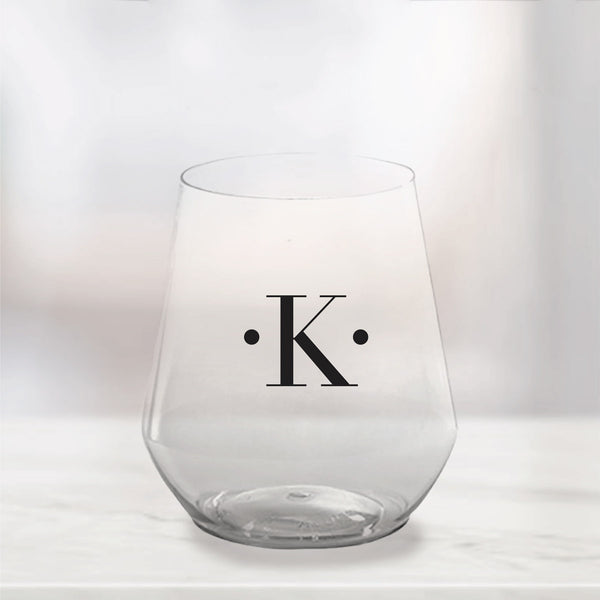 Single Initial Plastic Stemless Wine Glasses