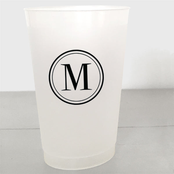 Single Initial Shatterproof Plastic Cups in black ink