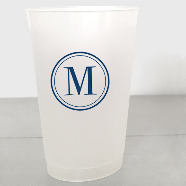 Single Initial Shatterproof Plastic Cups in navy ink