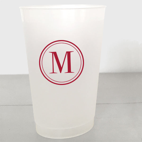 Single Initial Shatterproof Plastic Cups in red ink