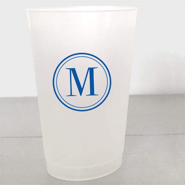 Single Initial Shatterproof Plastic Cups in royal blue ink