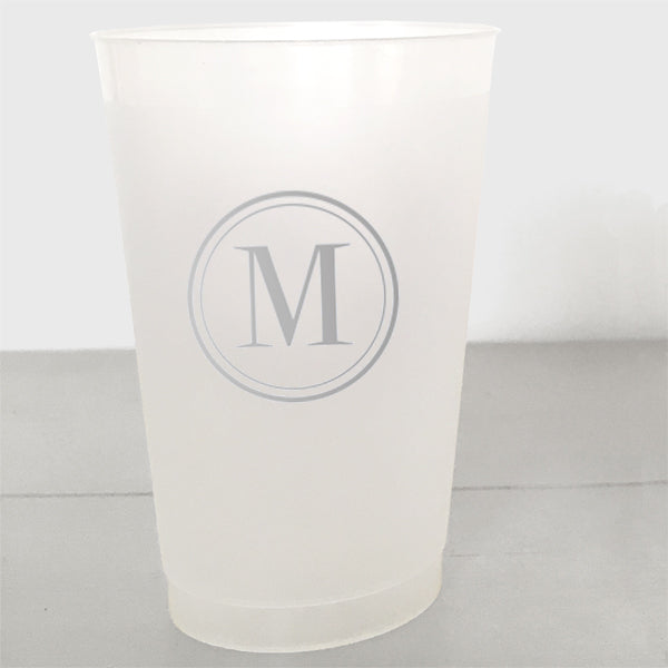 Single Initial Shatterproof Plastic Cups in silver ink
