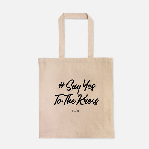 personal wedding hashtag totebag