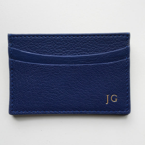 indigo personalized leather  business card case