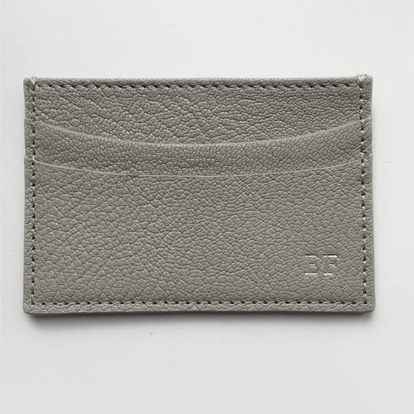 grey personalized leather  business card holder