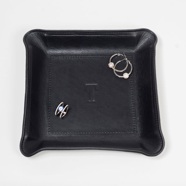 leather catchall tray is handmade from natural Vachetta leather