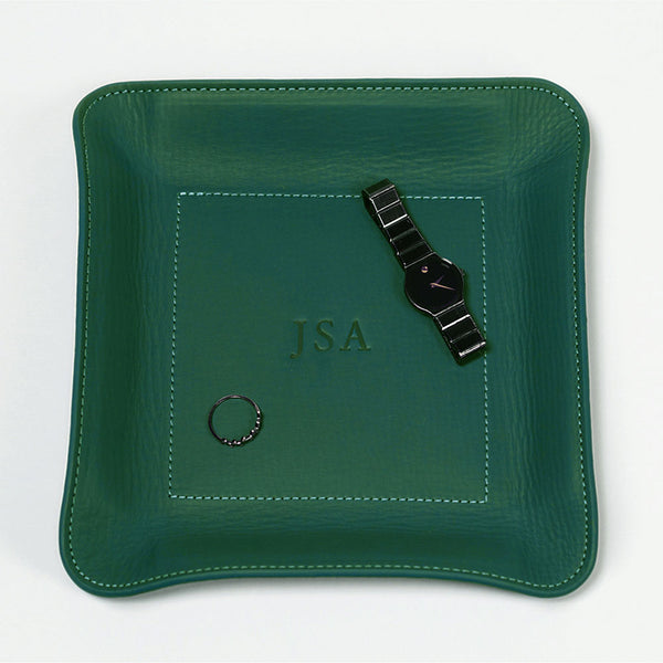 Hunter green leather personalized catch-all