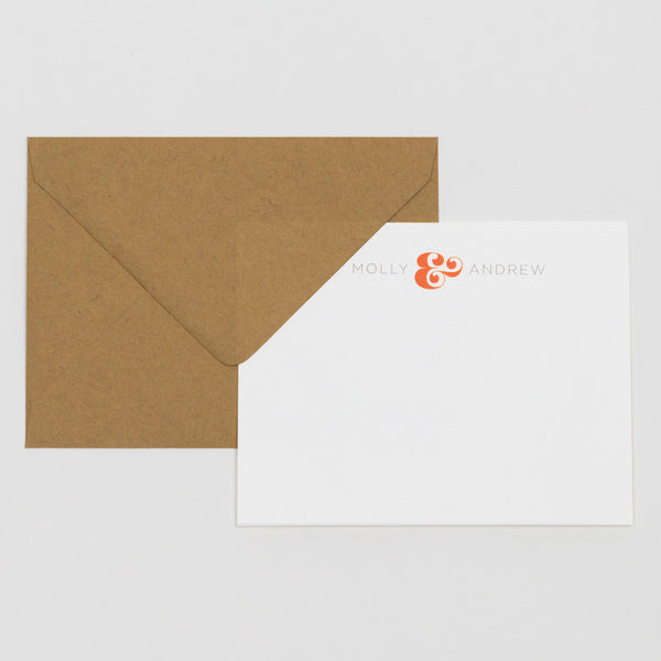 Everyday Stationery Set in Orange and Kraft