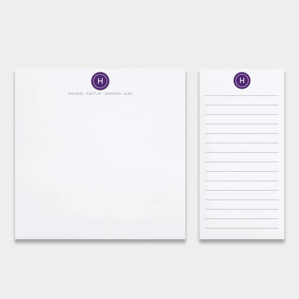 The Family Assortment, personalized pads with initial and names in purple ink