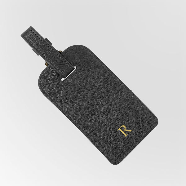 Leather luggage tag with gold monogram