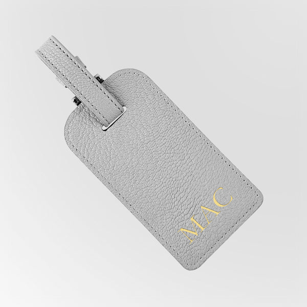 Grey Leather luggage tag with gold initials