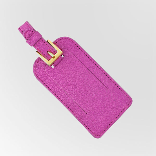 Hot Pink Leather luggage tag with gold monogram back view closed