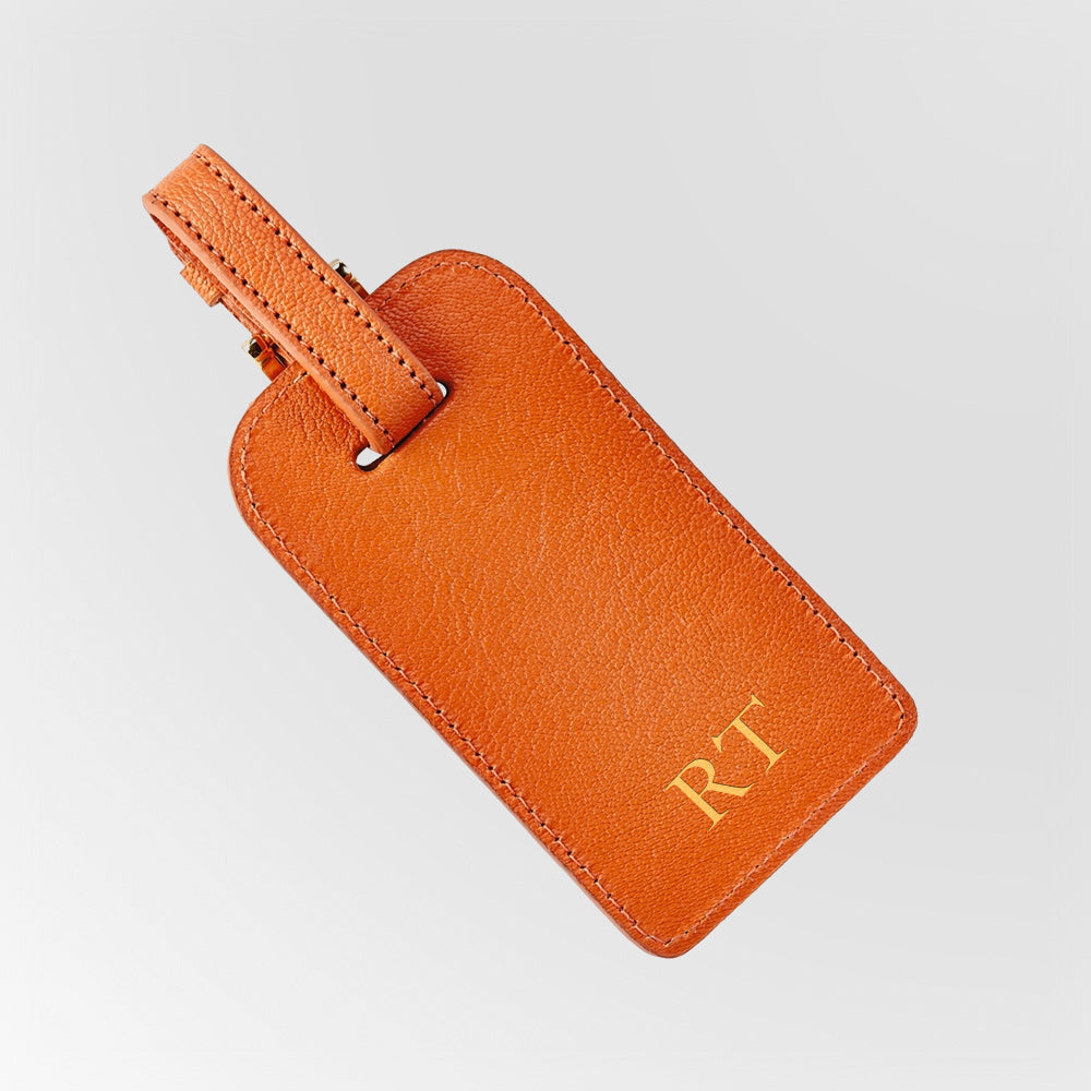 Orange Leather luggage tag with gold initials
