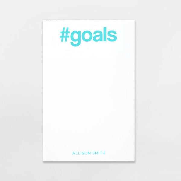 #Goals Pad personalized in sky blue ink