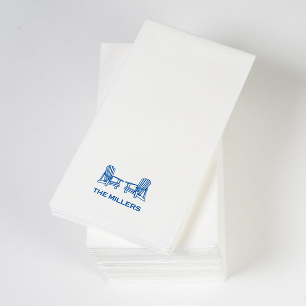 Personalized linen-like guest towels, adirondack chair and name in royal blue
