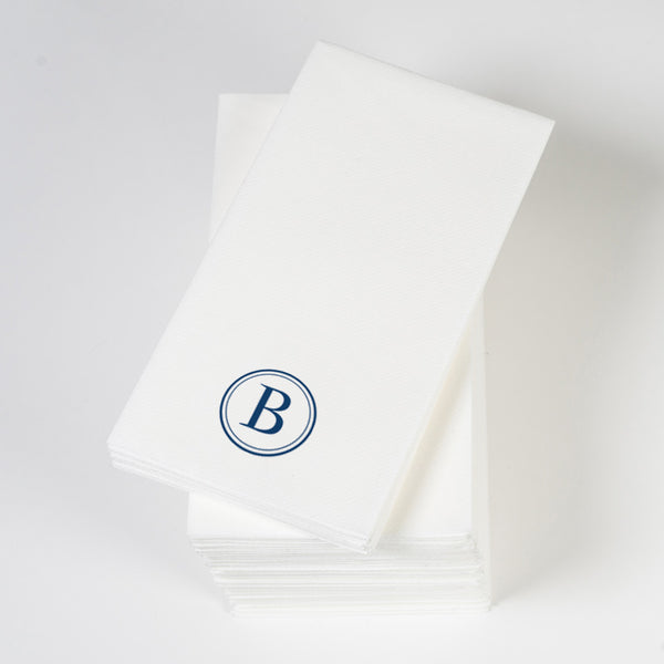 Personalized linen-like guest towels, single initial in navy