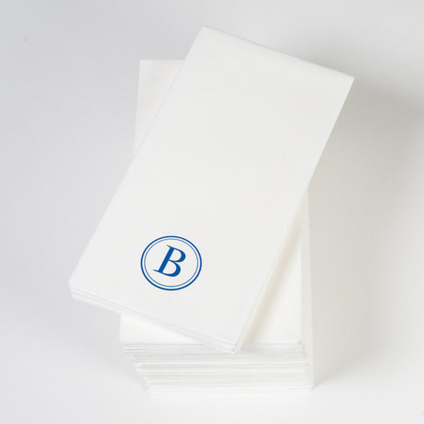 Personalized linen-like guest towels, single initial in royal blue