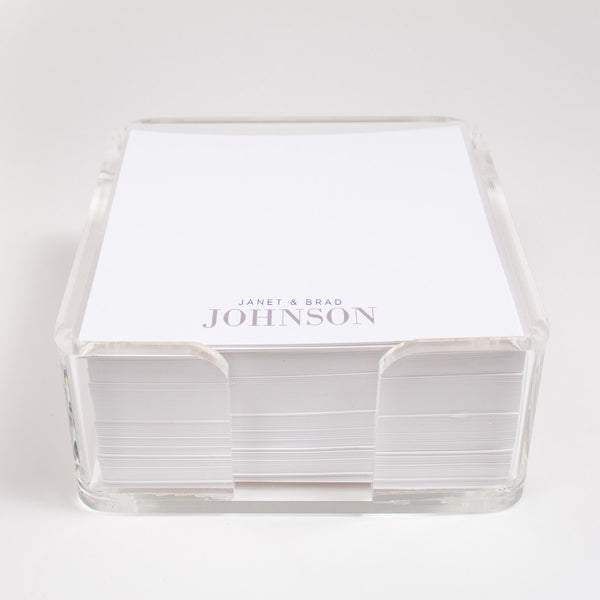 acrylic holder contains 500 loose sheets of personalized paper