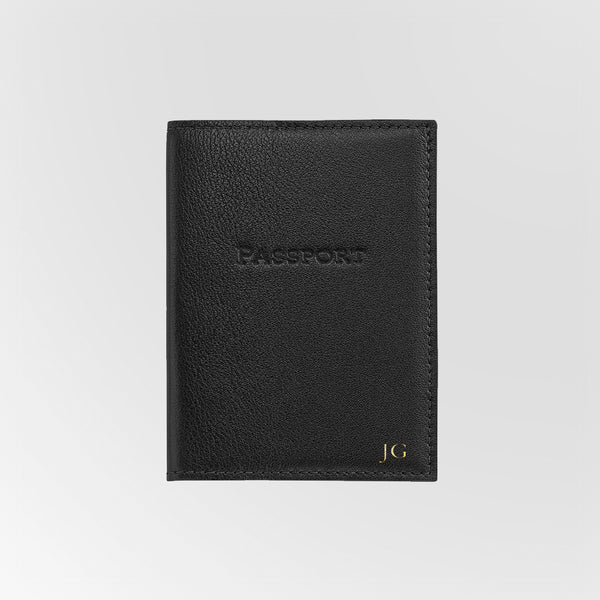 Personalized Black Leather Passport Holder