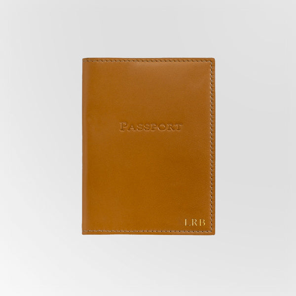 Personalized British Tan Leather Passport Holder
