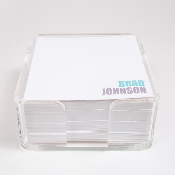 personalized paper in lucite cube