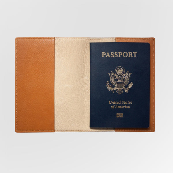Personalized British Tan Leather Passport Holder shown open