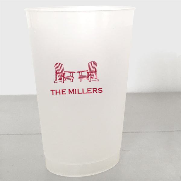 Personalized Adirondack Chair shatterproof cups in red ink