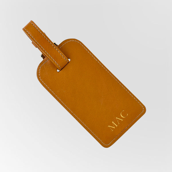 Orange Leather Luggage Tag with 3 initial momnogram