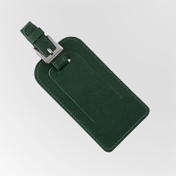 Green Leather Luggage Tag shown closed