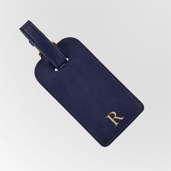 Navy Leather Luggage Tag with single initial