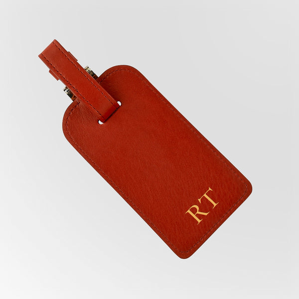 Red Leather Luggage Tag with 2 single initial