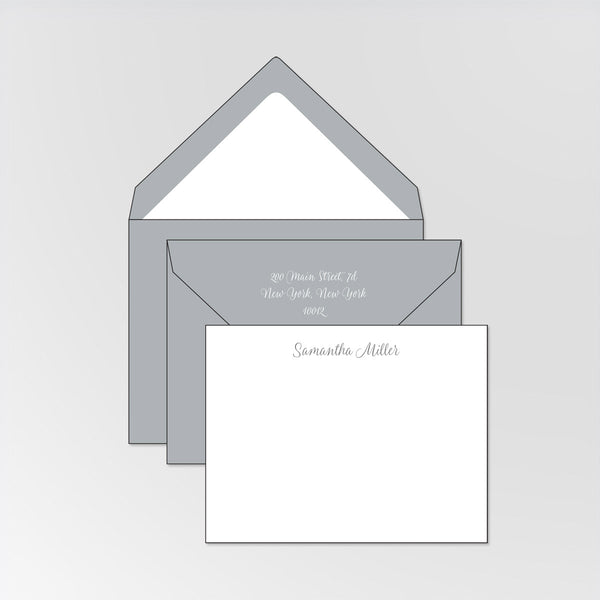 Set of 50 personalized double thick note cards and envelopes