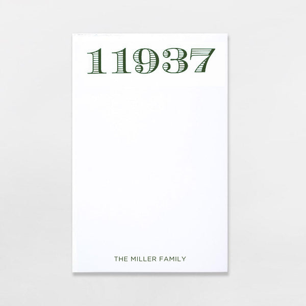Zip Code Pads - personalized with your zip code plus one line of text in hunter green ink