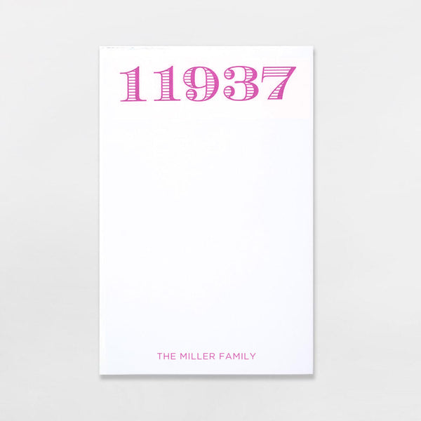Zip Code Pads - personalized with your zip code plus one line of text in hot pink ink