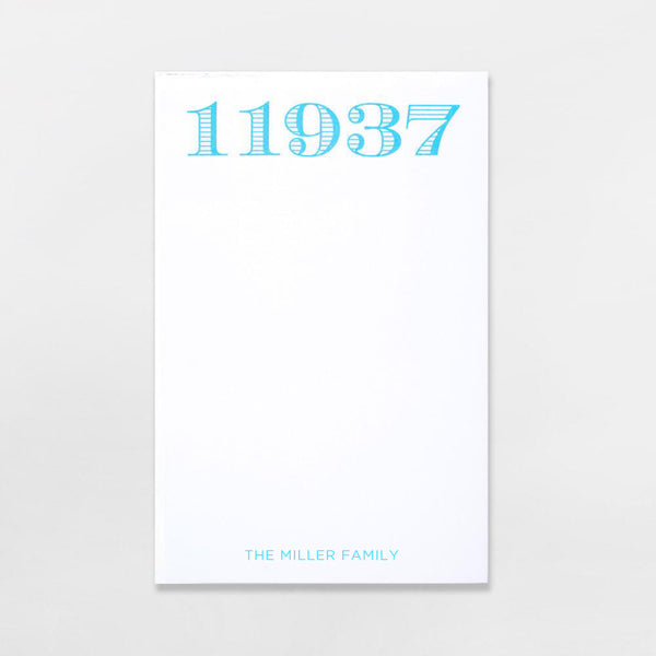 Zip Code Pads - personalized with your zip code plus one line of text in sky blue ink