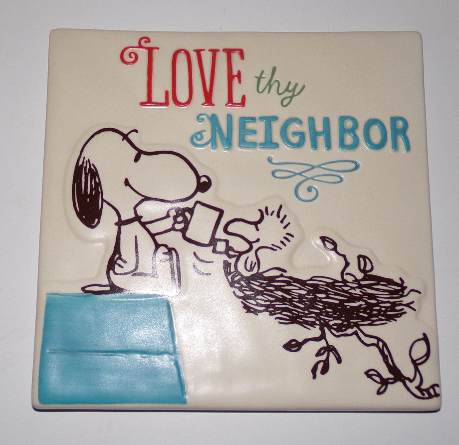 Snoopy Peanuts Love Thy Neighbor Trivet - We Got Character