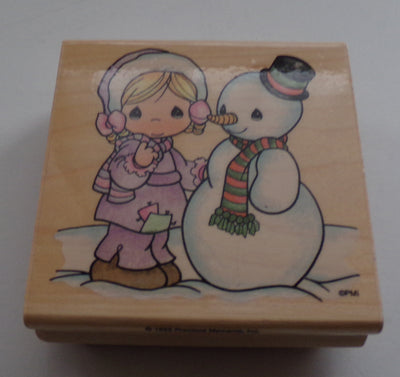 Precious Moments Wooden Rubber Stamp Katy's Snowman
