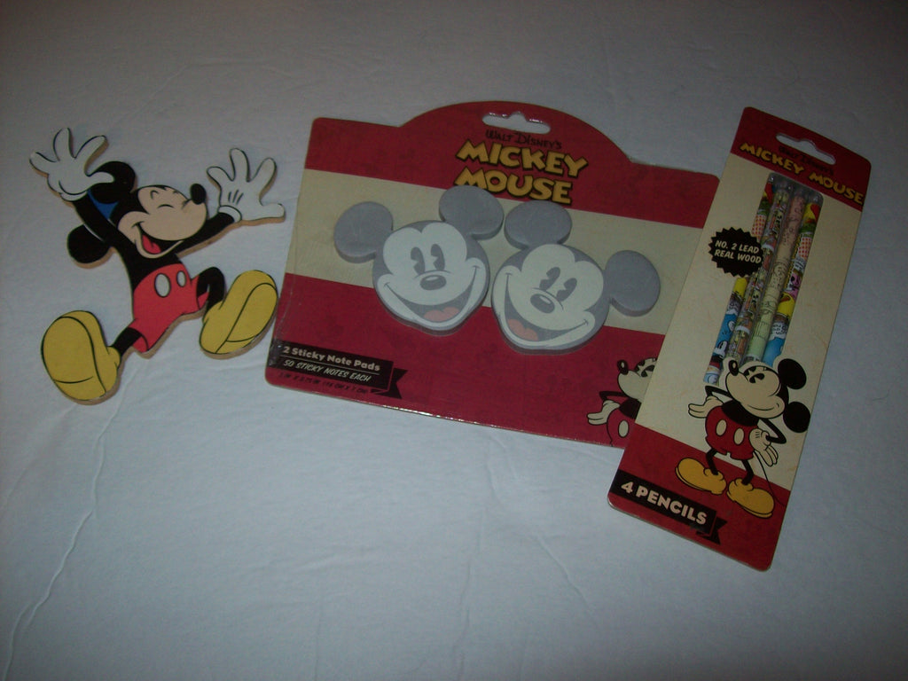 Mickey Mouse 3 Piece Lot - Paper, Pencils, Wooden Decoration - We Got Character