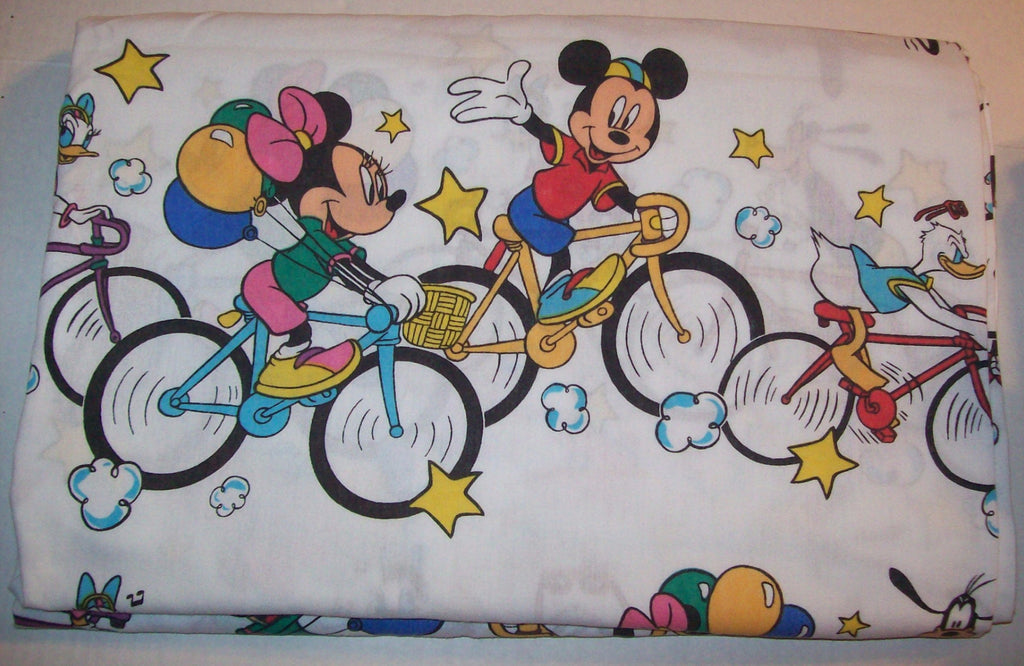 Mickey Mouse and Friends White Twin Sheet Bikes