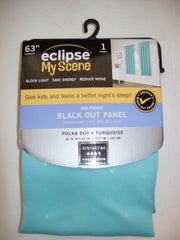 "63"" Eclipse My Scene Blackout Curtain Polka Dot Turquoise - We Got Character"
