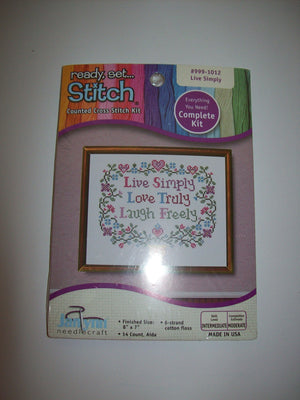 JanLynn Complete Counted Cross Stitch Kit  Live Simply - We Got Character