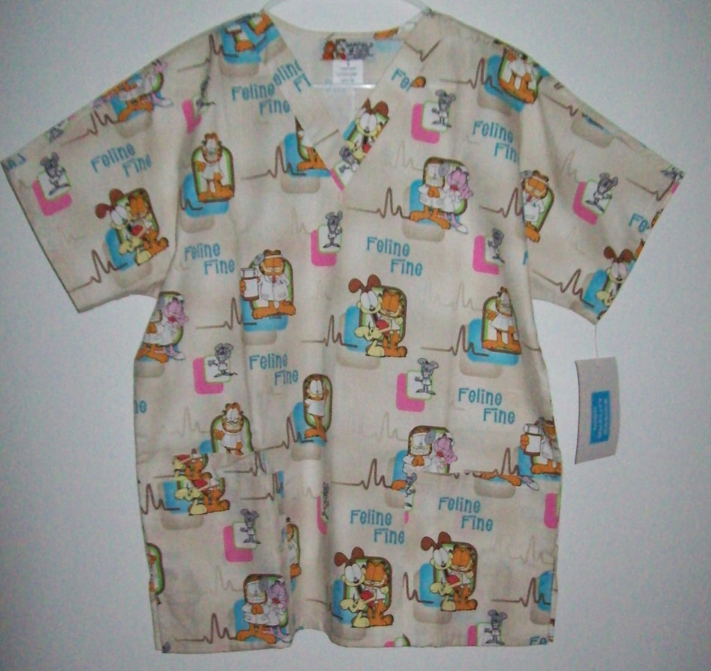 Feline Fine Short Sleeve Garfield Scrub Top Size Small