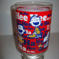 Large Snoopy Peanuts HA Ha Glass