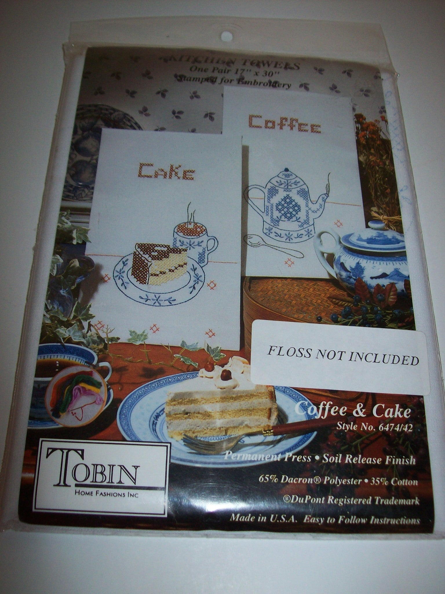 Tobin Home fashions Kitchen Towels Stamped Embroidery Coffee & Cake - We Got Character